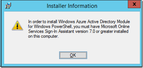 Cannot install Azure Active Directory Module for Windows