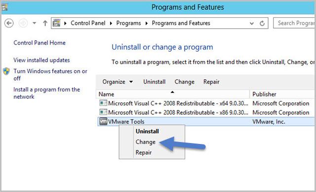 control-panel-vmware-tools