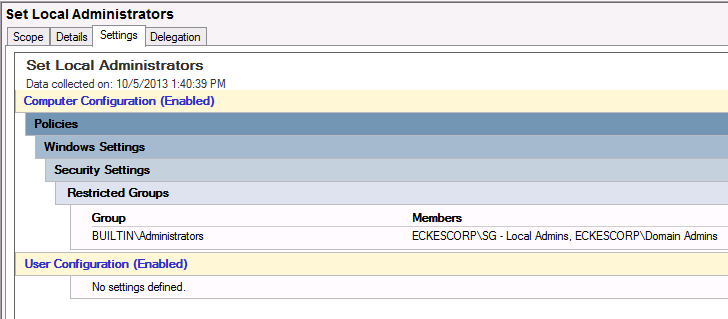 Adding a security group to the Local Administrator Group in